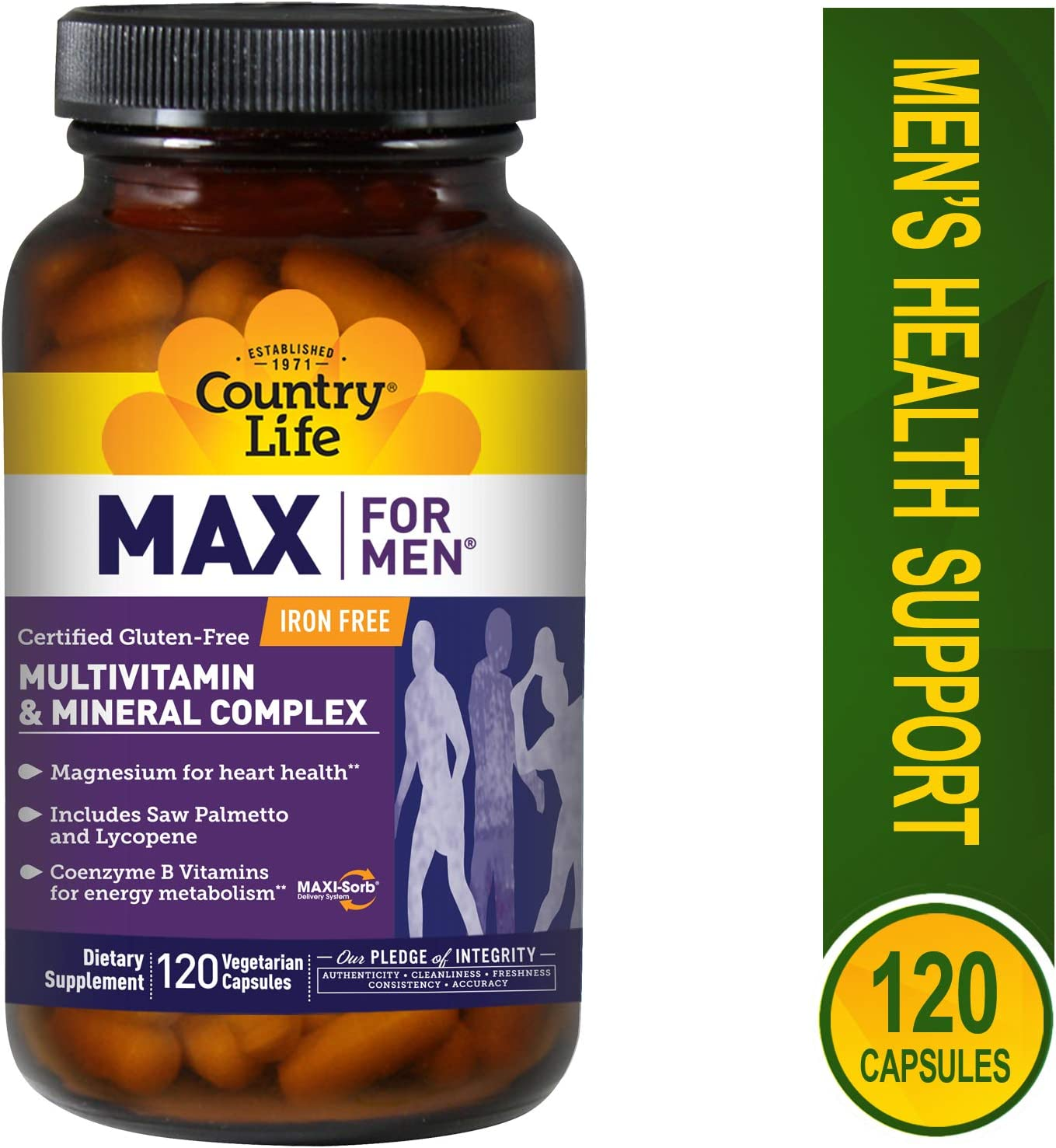 Country Life Max for Men Veg Caps , 120-Count