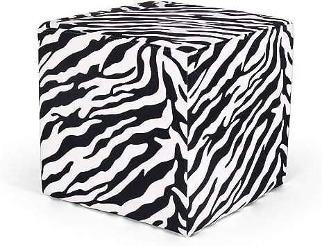 Amazon Com Homebeez Square Ottoman Foot Rest Stool Small Fabric Cube Footstool Zebra Furniture Decor