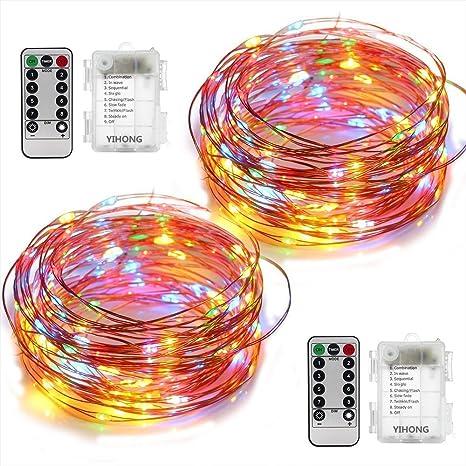 2 Set Luces funciona con pilas por Yihong, 50, 8 modos LED cadena de luces 5 ...