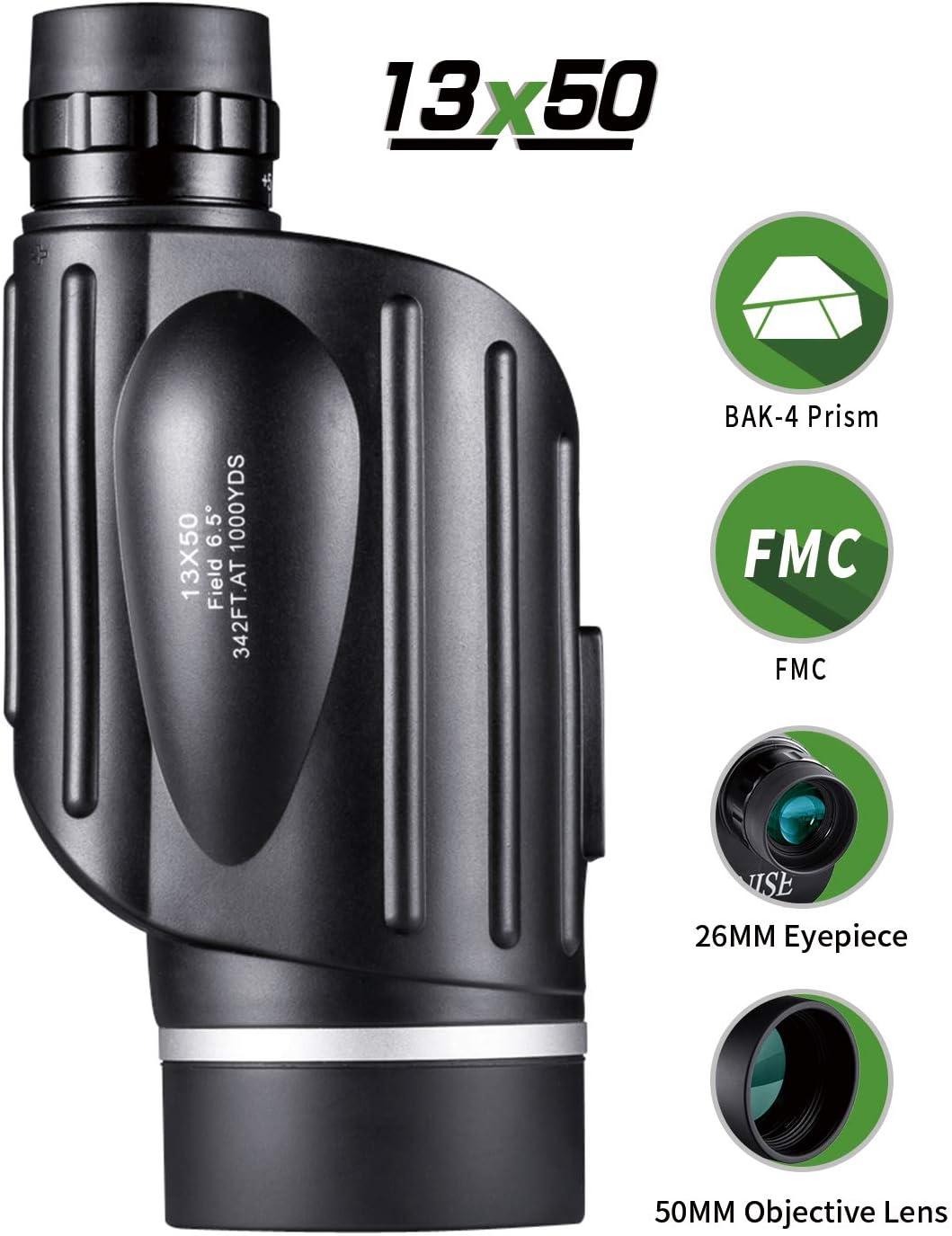 BNISE Monocular de gran Potencia 13X50, visión Luminoso y claro, Observación simple con una sola mano, Resistente al agua, antiniebla, Observación de aves o fauna silvestre, con medidor de distancia