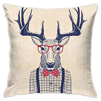 Peachy Amazon Com Eante Throw Pillow Cover Nerd Deer Decorative Inzonedesignstudio Interior Chair Design Inzonedesignstudiocom
