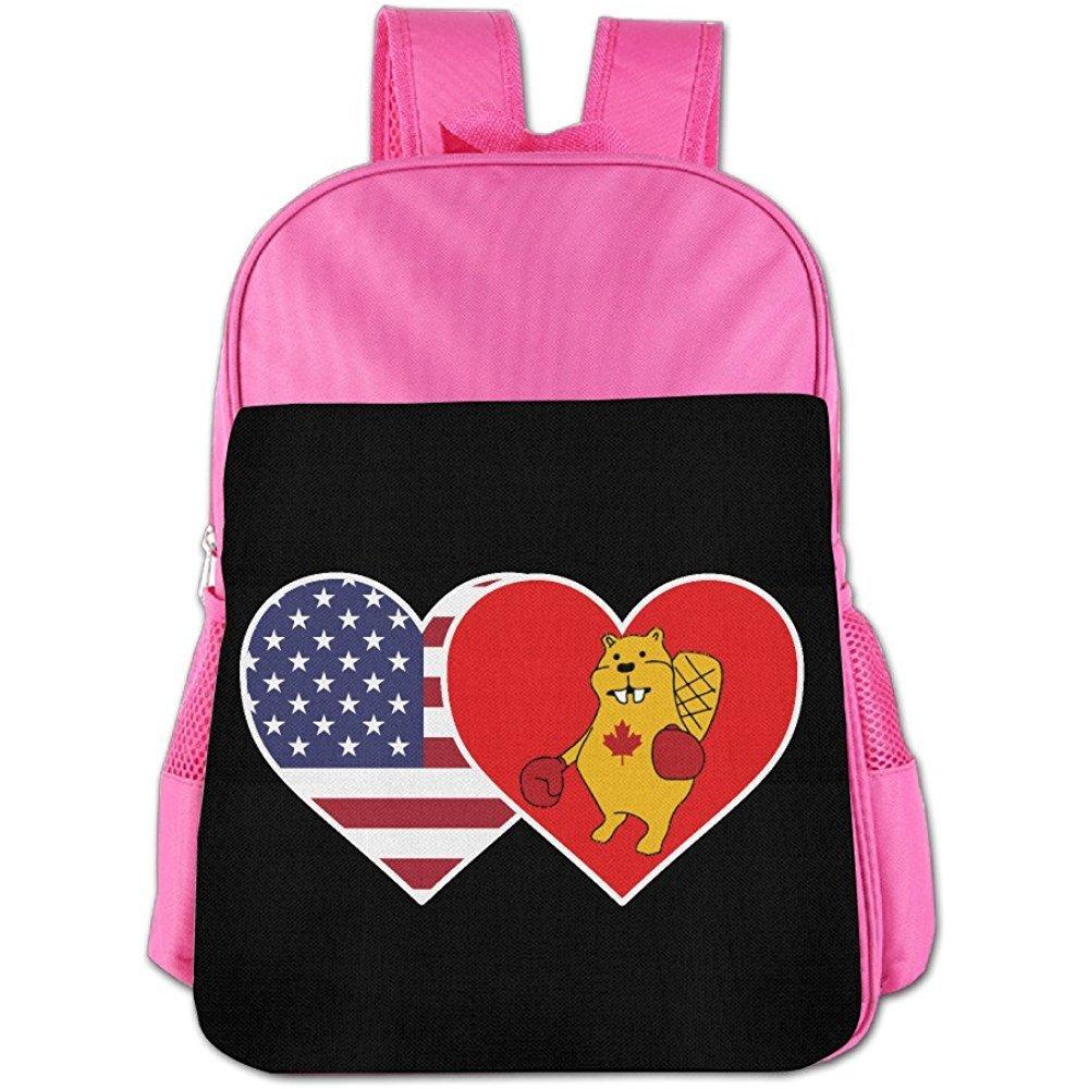 Starogs Children's Schoolbag USA Flag Canada Boxing Beaver Light Weight Backpack Satchel Lunch Bag