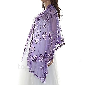 Chal Estola Bolero Bordado Encaje Vestido Boda Fiesta Violeta para Mujer