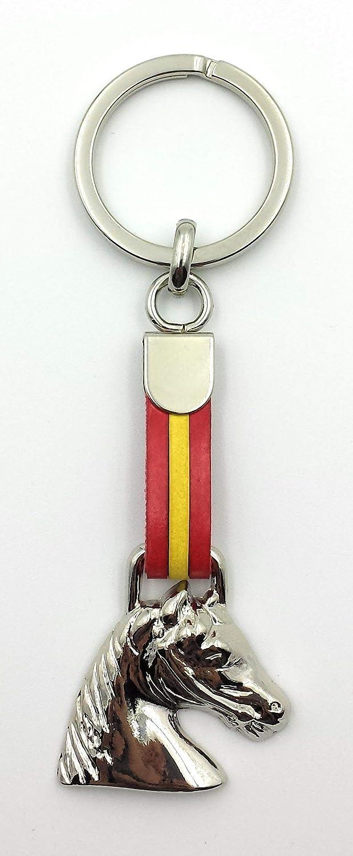 FJR-ArtPiel - Llavero bandera de España con cabeza de caballo ...