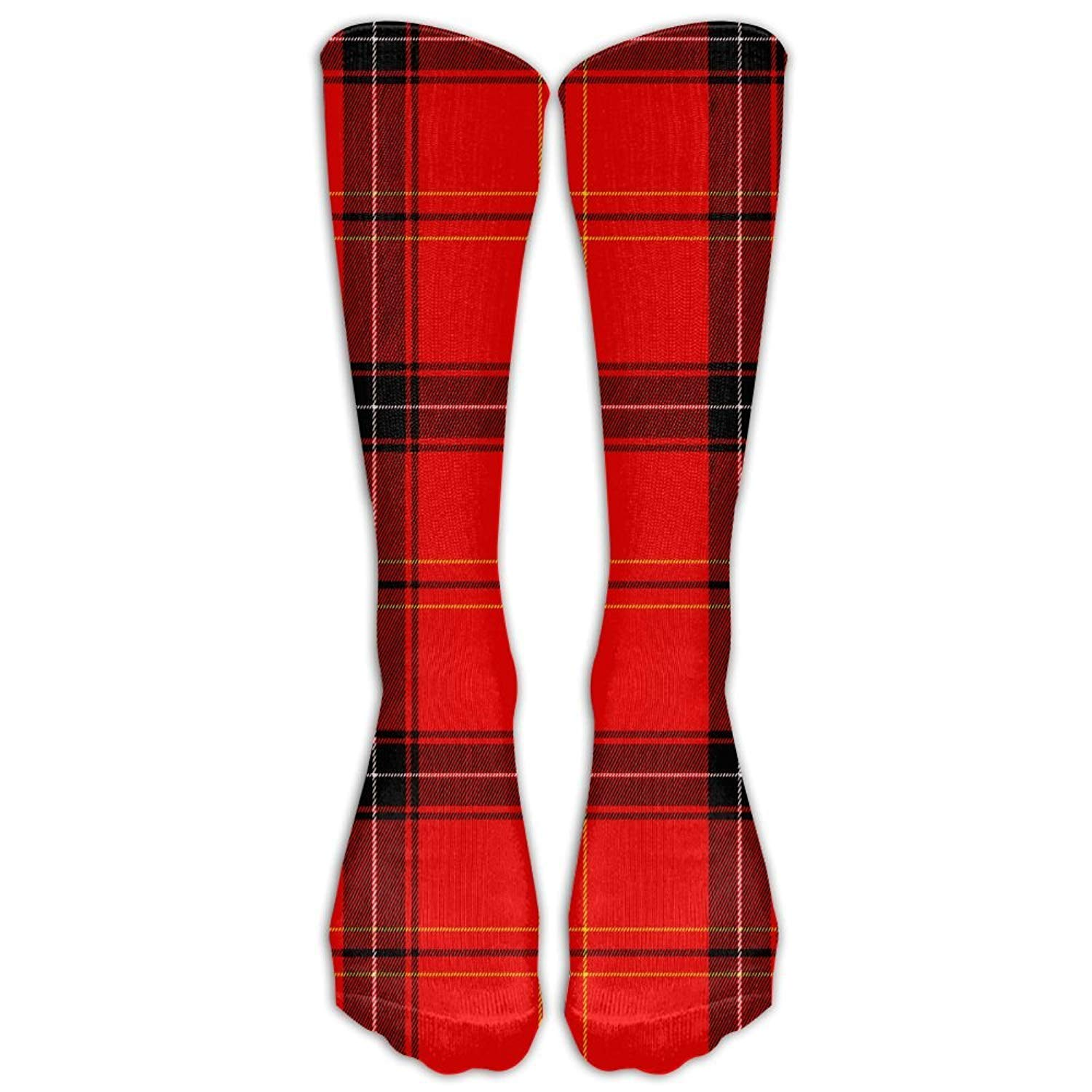 Retro Red Plaid Pattern Women's Crew Socks Over Knee High Stocking Girls Boots Long Socks