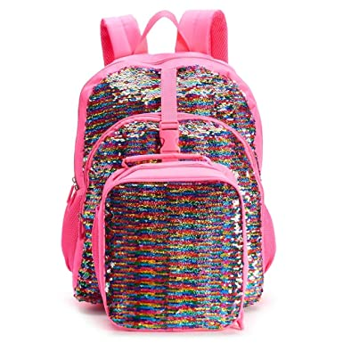 Kids Flippable Sequin Backpack   Lunch Bag Set  Amazon.co.uk  Clothing 3413ab9f80209