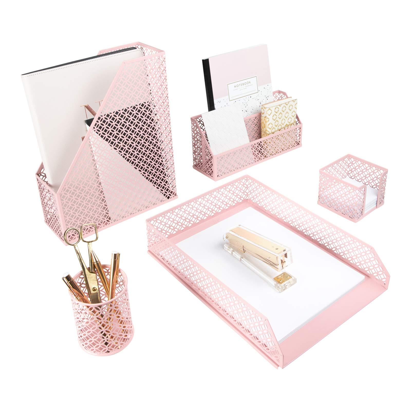 Blu Monaco Office Supplies Pink Desk Accessories for Women-34 Piece Desk  Organizer Set-Mail Sorter, Sticky Note Holder, Pen Cup, Magazine Holder,