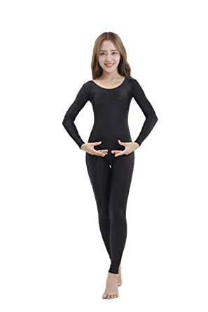 536804fd07 Amazon.com  Felicirisa Womens Scoop Neck Long Sleeve Lycra Unitard Bodysuit  Jumpsuit Black M  Clothing