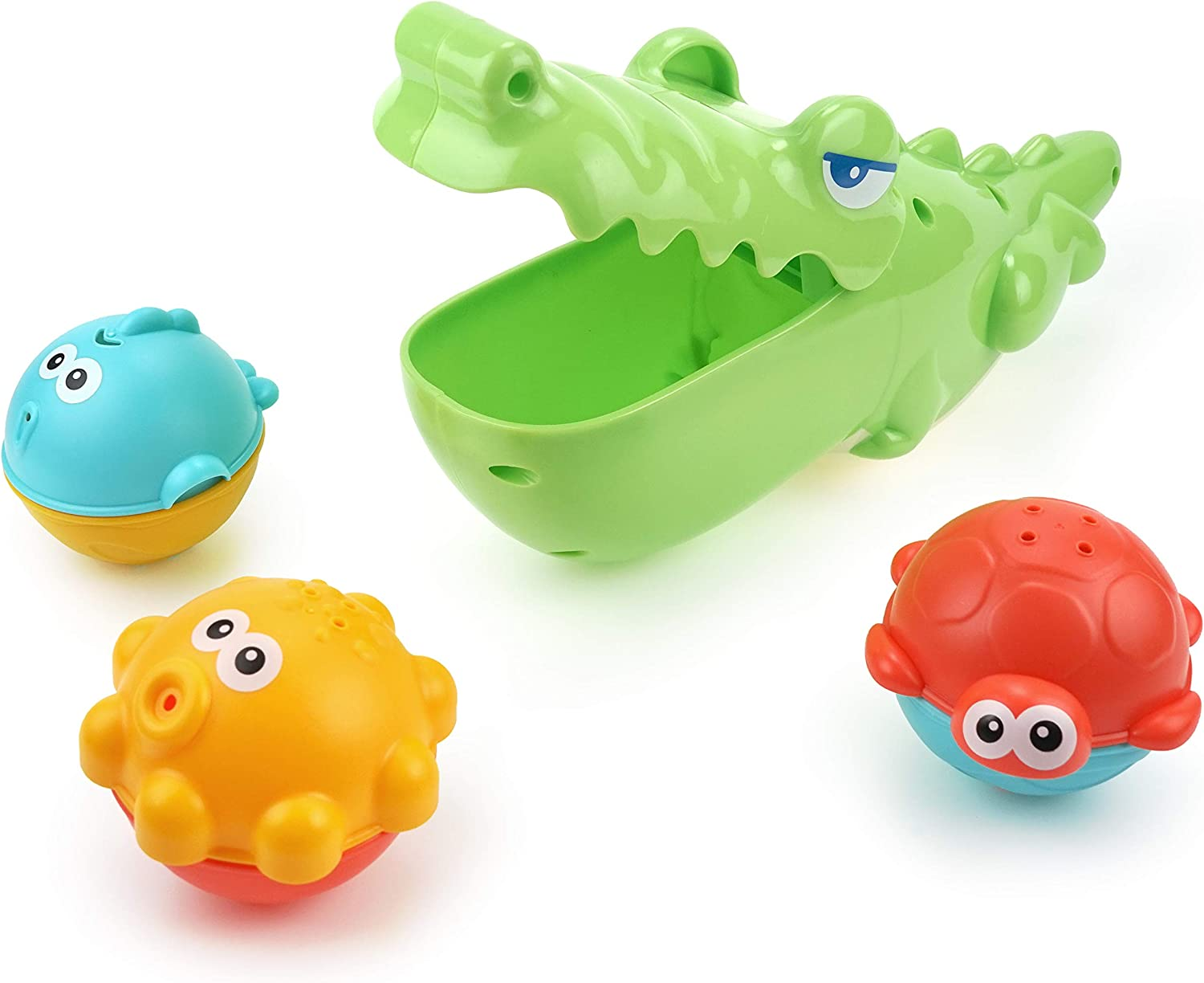 Hungry Big Mouth Crocodile Grabber with 3 Animal Sprinkler Balls 4pcs DUCKBOXX XX Bath Toys Set