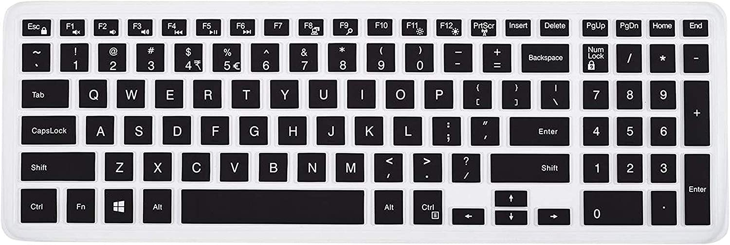 Saco Chiclet Keyboard Skin for Dell Inspiron 3542P4500iBU 15.6 inch Laptop Black with Clear