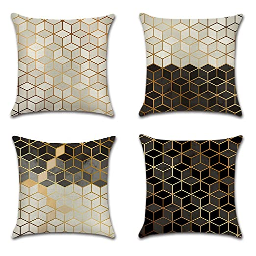 JOTOM Funda de Almohada para Cojín de Lino y Algodón para Sofa,Cama,Silla Decorativo 45 x 45 cm,Juego de 4 (Cubo)