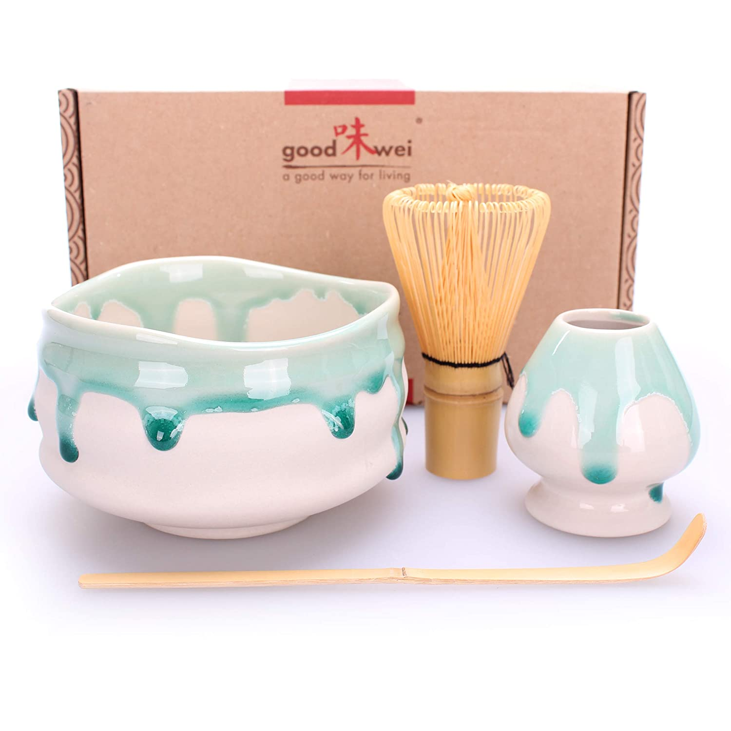 Goodwei Premium Matcha Tea Set Suiteki - Ceremonial Bowl Chawan, Whisk and Holder - Gift Box (80) 998