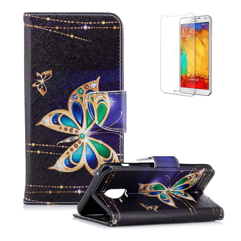 Funyye Magnetic Flip Cover for Samsung Galaxy A8 2018,Premium Stylish Butterfly Flower Pattern Stand Wallet PU Leather Case with Soft Silicone for Samsung Galaxy A8 2018 + 1 x Free Screen Protector FUNYYE0035017