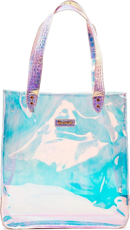 Bewaltz Jelly Tote Bag Iridescent Handbag Holographic Crocodile Detail PVC Beach Festival