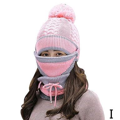 21b8de8c7433e8 Cherryi Women's Scarf Winter Sets Cap Mask Collar Face Protection ...