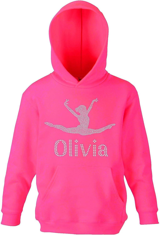 Sweatshirt à capuche de gymnastique pour filles Justaucorps Cristaux Personnalisable petit fuchsia