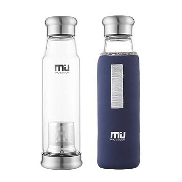 MIU color® elegante portátil Botella de cristal capacidad 700 ml mayor-Taza con filtro