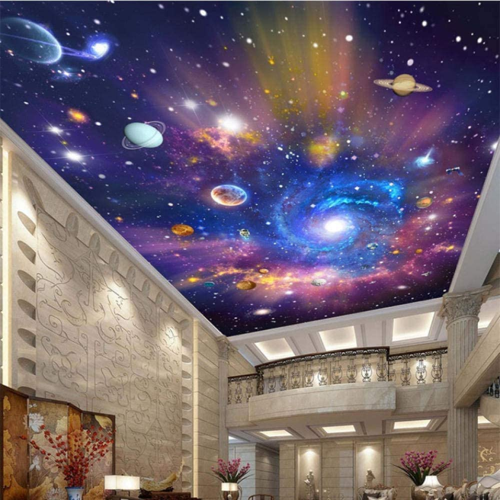 Amazon Clhhsy 防水 防汚 壁掛 カスタム写真壁紙3dスターユニバースギャラクシー壁画壁布子供の寝室リビングルーム防水天井壁紙3 D 350x250cm 壁紙