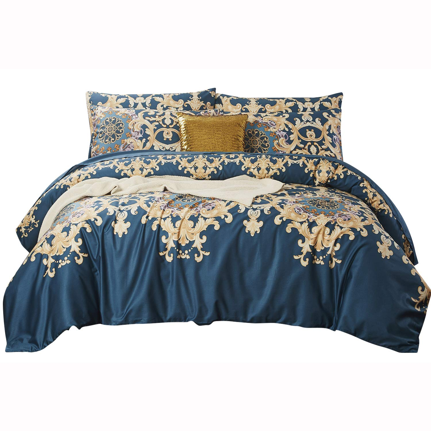Softta Teal Bedding Vintage Damask Floral California King 3 Pcs Blue and Gold Duvet Cover Boho Turquoise 100% Egyptian Cotton 1000 Thread Count Hypoallergenic Navy Blue
