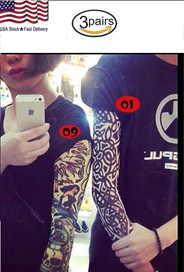 1dcad41de Amazon.com : 3 Pair(6pcs Tattoo Arm Sleeve Cover Cycling Sun Protective Uv  Cover Arm Sleeves(34 design) : Beauty