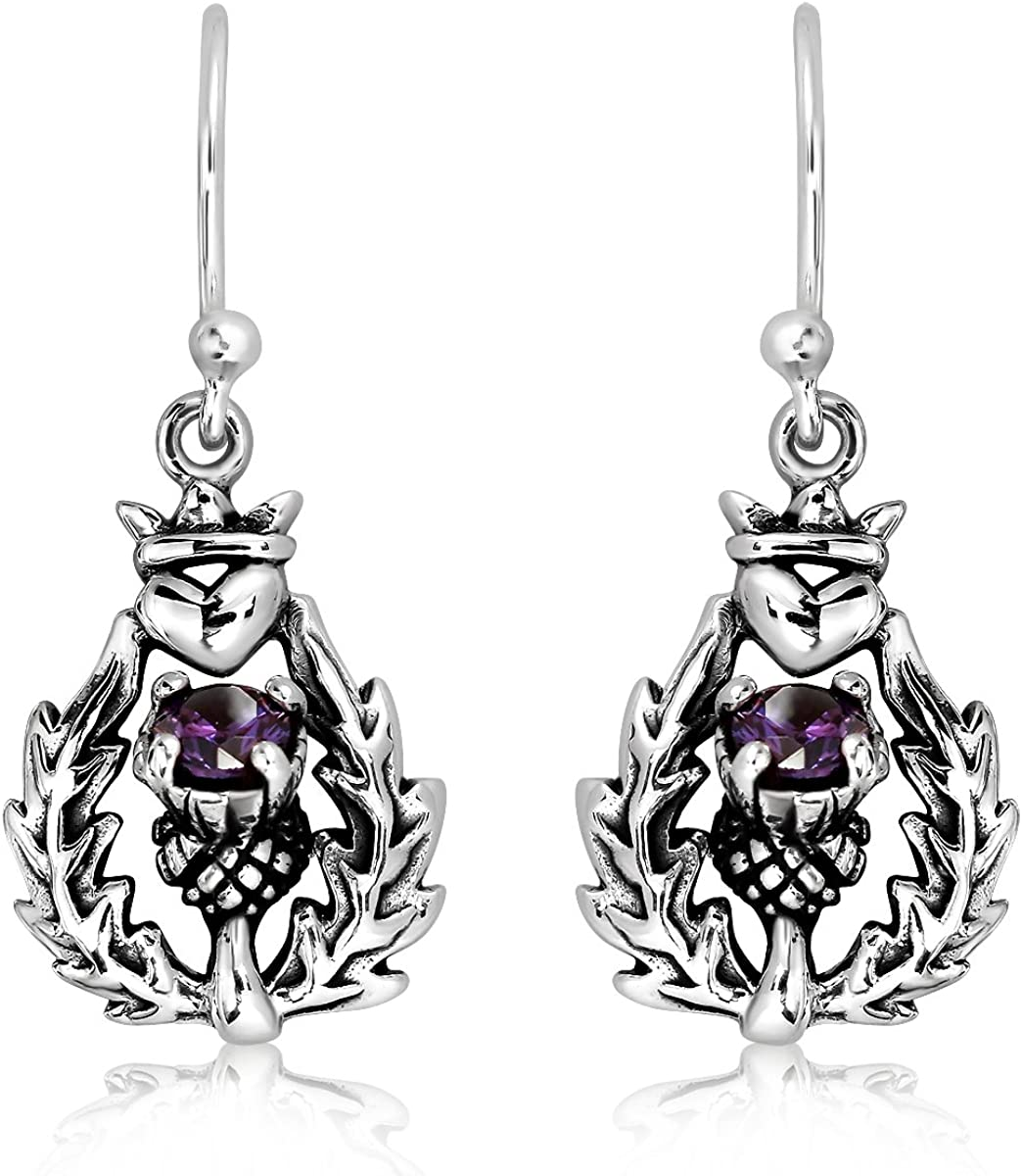 Love Heart Hanging Earrings Black Simulated CZ .925 Sterling Silver