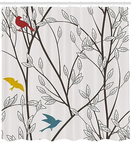 ABAKUHAUS Naturaleza Cortina de Baño, Aves Vida Salvaje Tipo Caricatura con Árbol Hoja Arte Estampa
