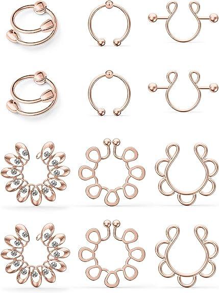 CHARM ONLINE Fake Nipple Ring Stainless Steel Non-Piercing Nipple Rings Clip On Nipplerings Faux Body Piercing Jewelry for Women Men