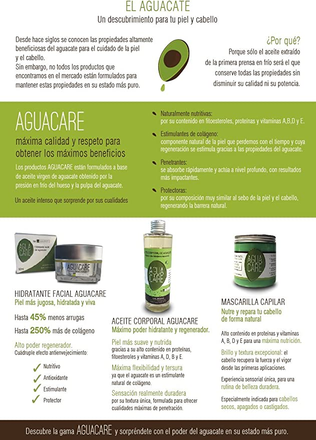 AGUACARE Aceite de Aguacate 100 % Natural