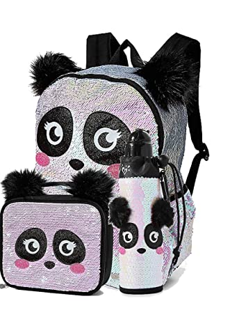 Image Unavailable. Image not available for. Color  Justice Set of 3 School Backpack  Lunch Tote and Water Bottle Flip Sequin Panda ec7c93c0c129d