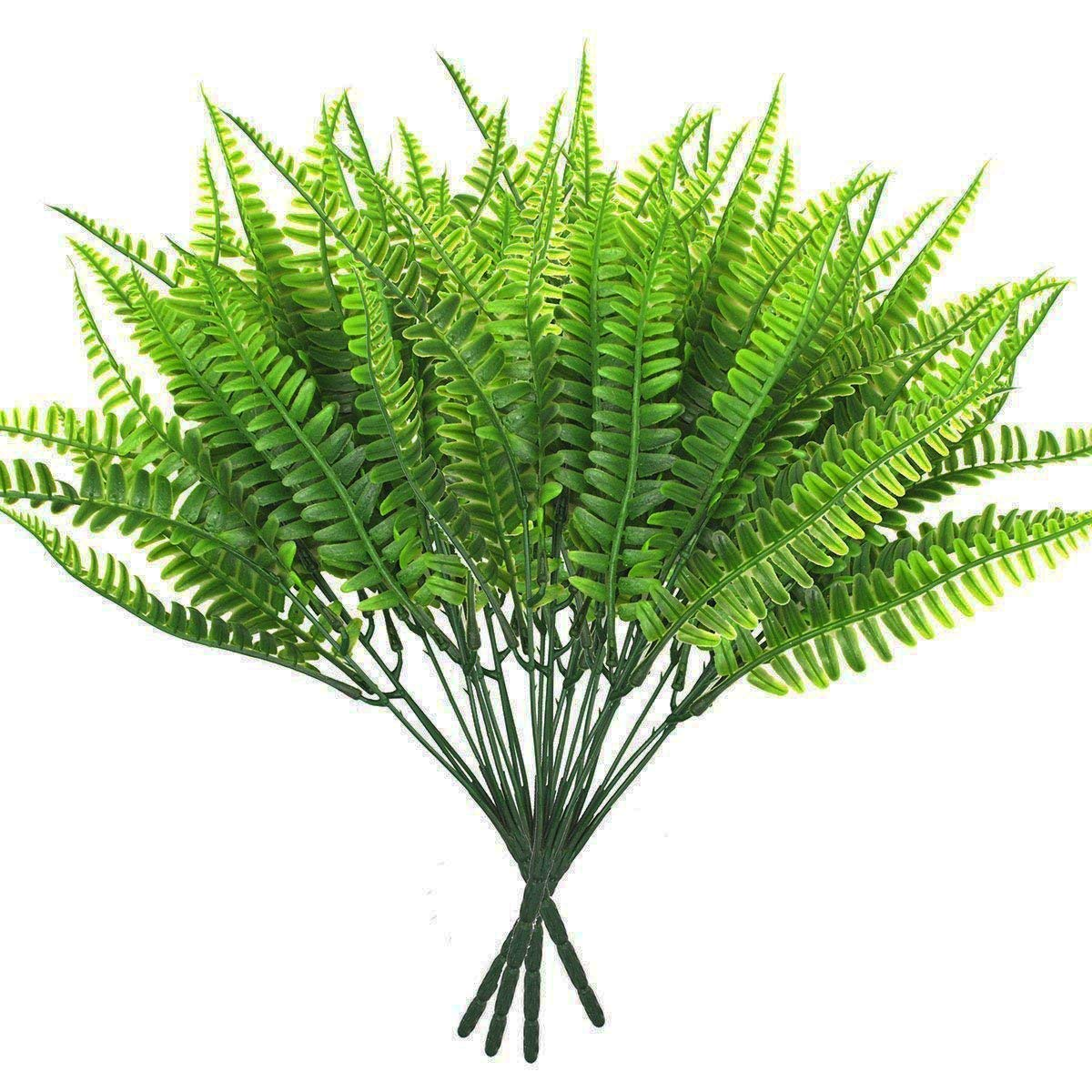 Warmter Artificial Boston Fern Bush Outdoor UV Resistant Plants Shrubs Bushes Greenery for Decor (4 Bunches)