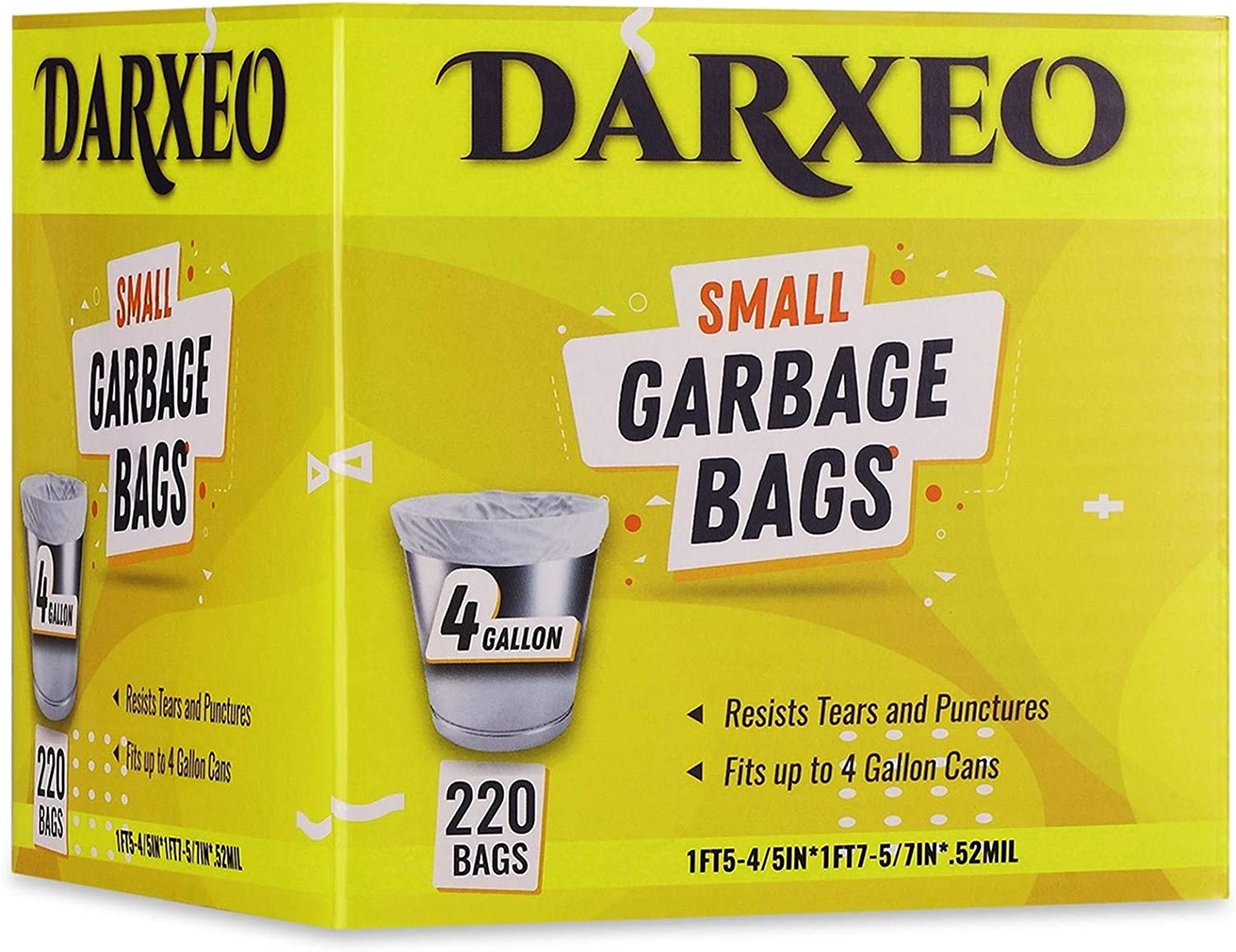 Small Trash Bags 4 Gallon Unscented, DARXEO White Garbage Bags, 15 Litre 220 Count Trash Can Liners for Bathroom Bedroom Office Trash Can Wastebasket