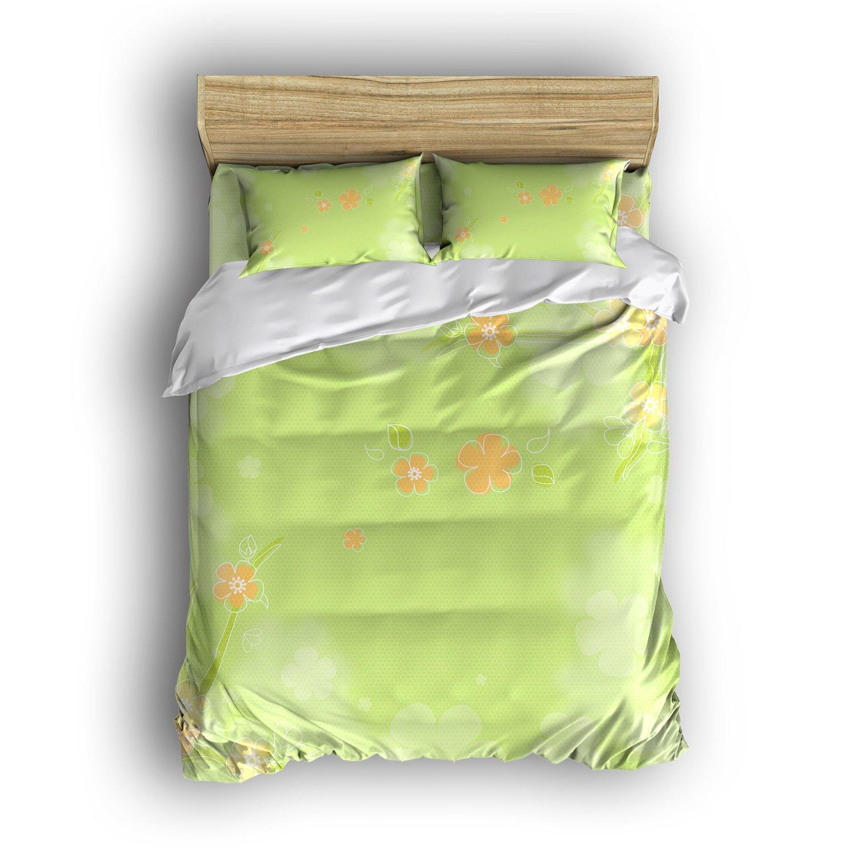 Modern-Home Bedding Sets 4 Piece Simple Green Flowers Fluttering Printed Bed Set Reversible Comforter Set Super Soft 1 Flat Sheet 1 Duvet Cover and 2 Pillow Cases (Full Size)