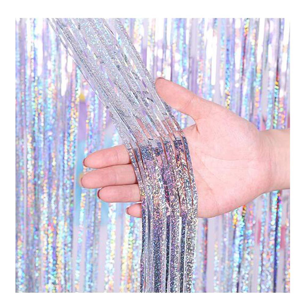 CENFRY 10pcs/lot 4MX1M Fashion Background Laser Rain Curtain DIY for Birthday Wedding Holiday Party Wall Decoration (Silver)