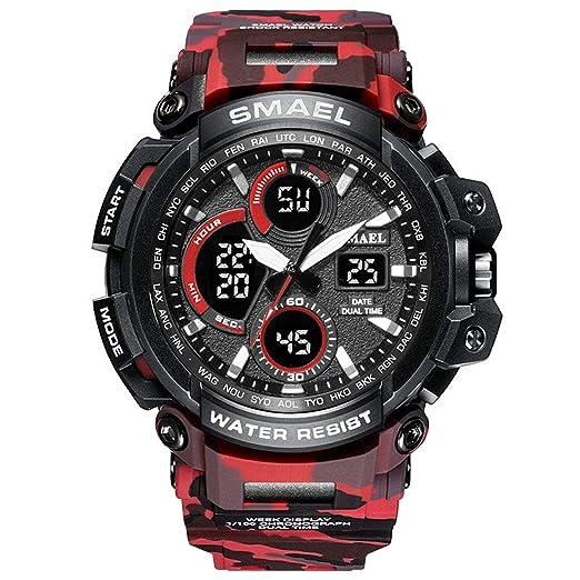 Beydodo Reloj de Camuflaje Reloj Militar Reloj Multifunción Reloj Hombre Relojes Electronicos Reloj Deportivo Reloj Deporte al Aire Libre Rojo: Amazon.es: ...