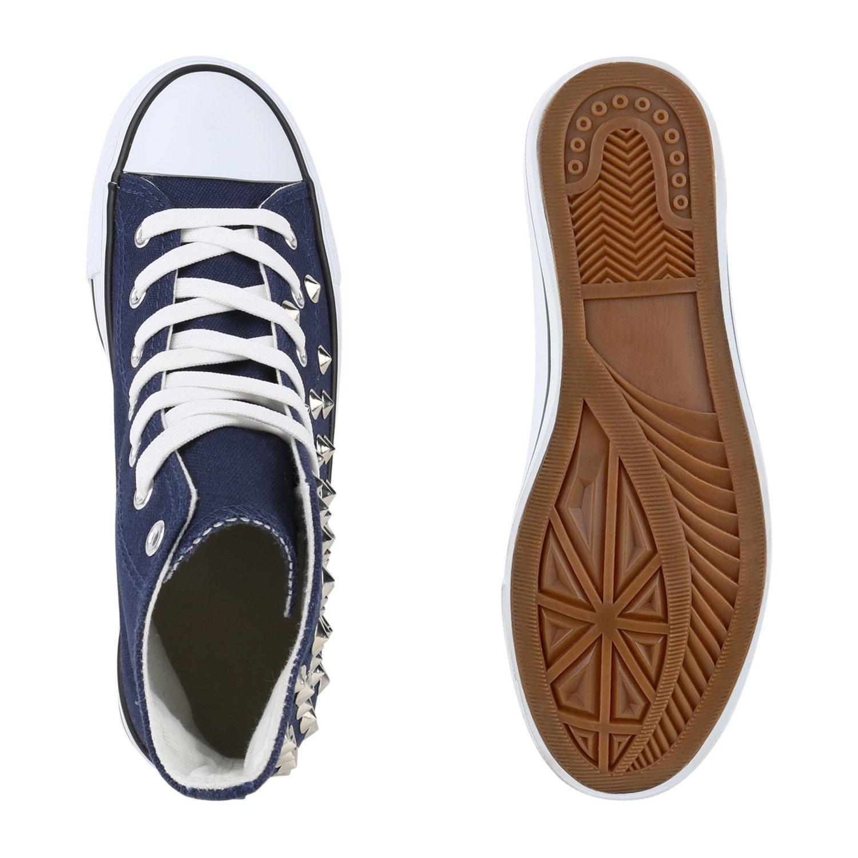 Stiefelparadies Unisex Übergrößen Damen Herren Sneaker high Übergrößen Unisex Flandell Dunkelblau Nieten 32abdc