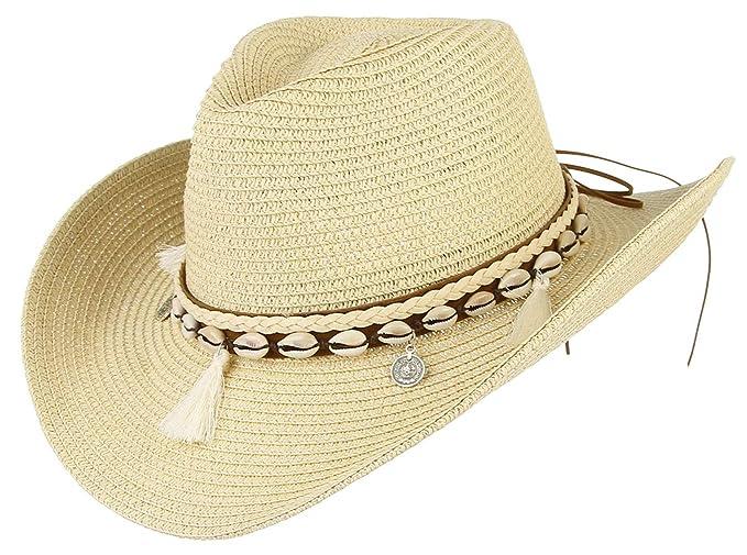 584f63adbafc90 Women Men Cowboy Floppy Sun Hat Straw Summer Beach Cap Wide Brim Panama Hats  (Beige