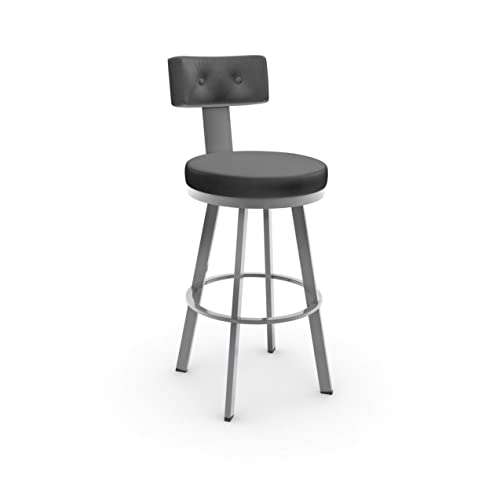 Amisco Tower Swivel Metal Barstool with Backrest, 30-Inch, Titanium Stratus
