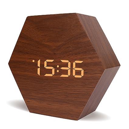 UOKOO Reloj Despertador electrónico, Reloj de Madera de Estilo, Reloj Despertador Digital de Madera