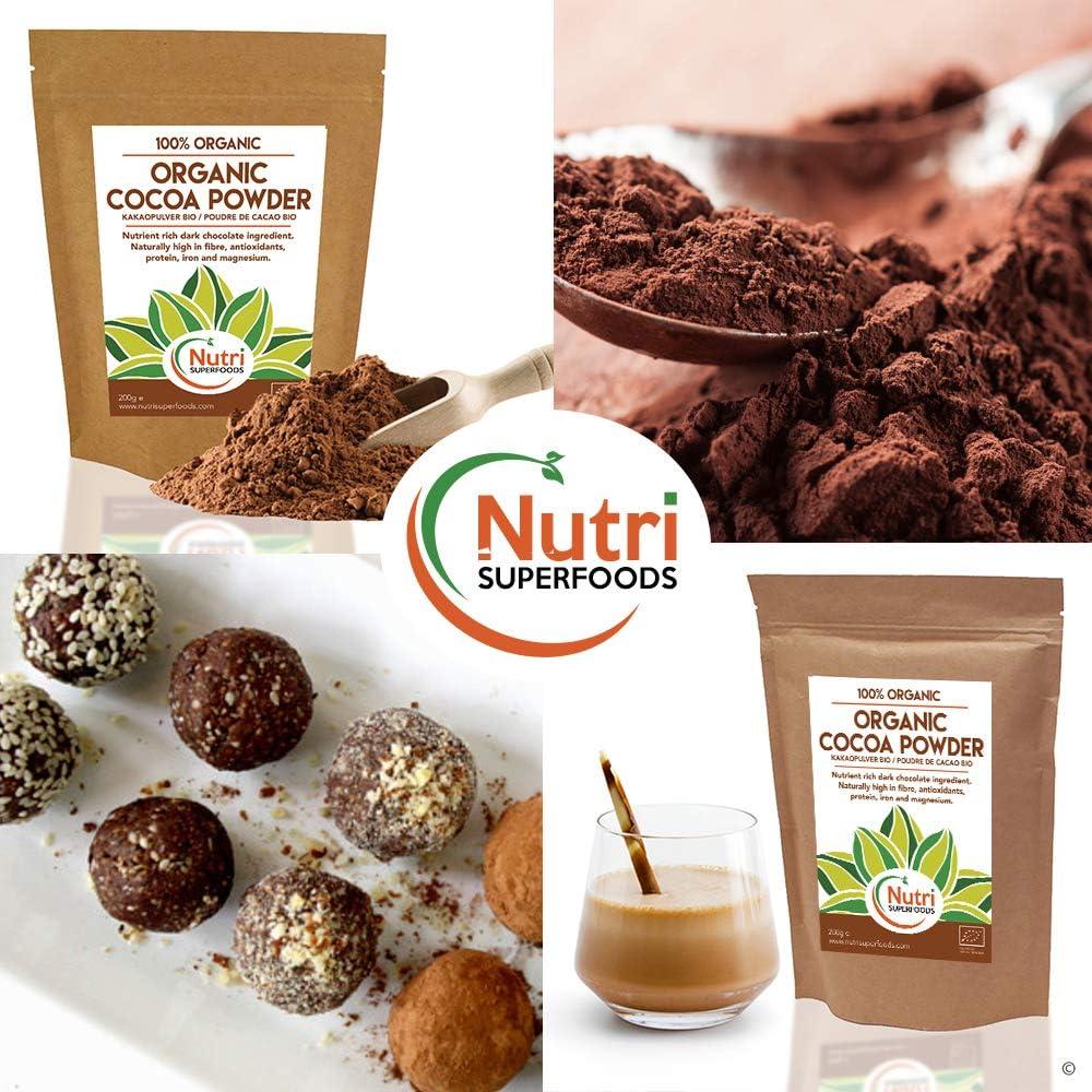Polvo de Cacao Orgánico, chocolate negro vegano nutritivo, sin azúcar, ideal para preparar platos, batidos y barras energéticas (200g)
