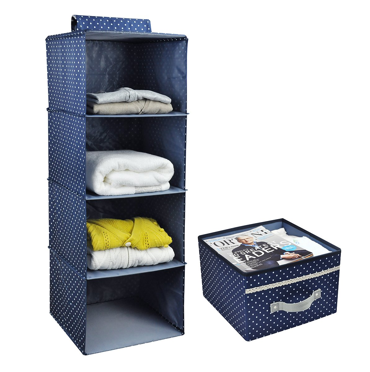 Awesome Amazon.com: 4 Shelf Hanging Closet Organizer With Drawer, Thick Wooden  Boards Inside, Suit For Clothes, Sweaters, Shoes Storage, Navy Blue Dot:  Home U0026 ...