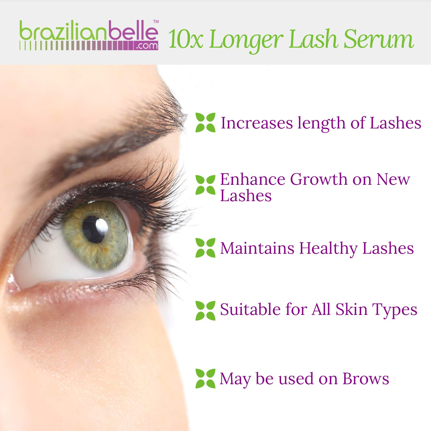 Brazilian Belle Eyelash Enhancing Growth Serum – Best Lash Eyebrow Serum on Amazon. Professional Formula for Rapid and Safe Results. Ditch Fake Lashes for Good
