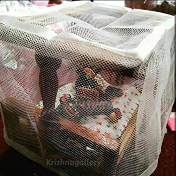 krishnagallery Laddu Gopal Wooden Bed with Mosquito Net, Brown