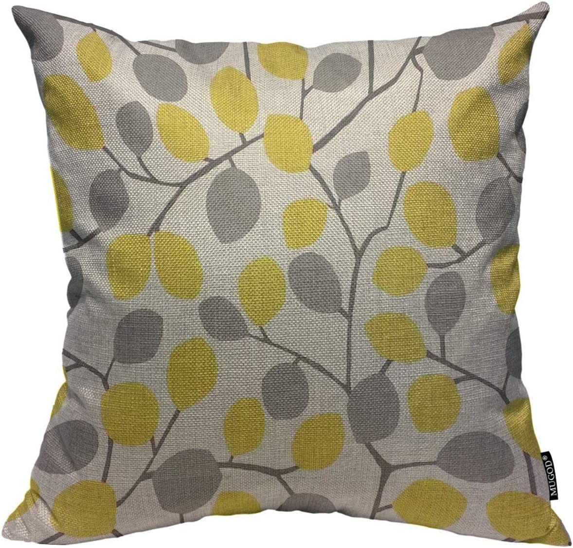 Amazon Com Mugod Throw Pillow Cover Yellow And Grey Seamless Leaves Pattern Home Decorative Linen Square Pillow Case For Men Women Boy Gilrs Bedroom Livingroom Cushion Cover 18x18 Inch Pillowcase Home Kitchen