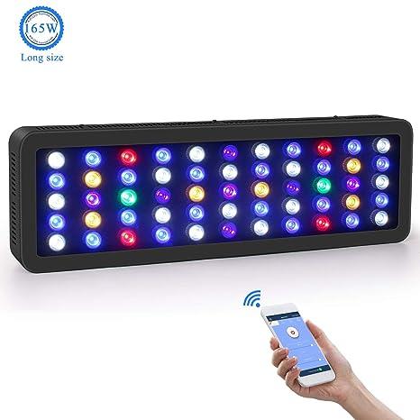 Roleadro LED Acuario Marino 165W wifi Remoto y Manual Pantalla LED Acuario Tamaño Grande Iluminacion LED