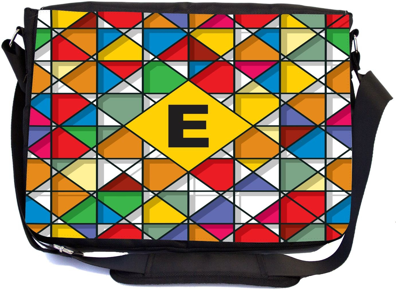 Rikki Knight Letter E Monogram Vibrant Colors Stained Glass Design Design Multifunctional Messenger Bag - School Bag - Laptop Bag - Includes Matching Compact Mirror