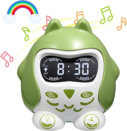 Kids Alarm Clock OK to Wake Color Changing Night Light Children Bedside Sleep