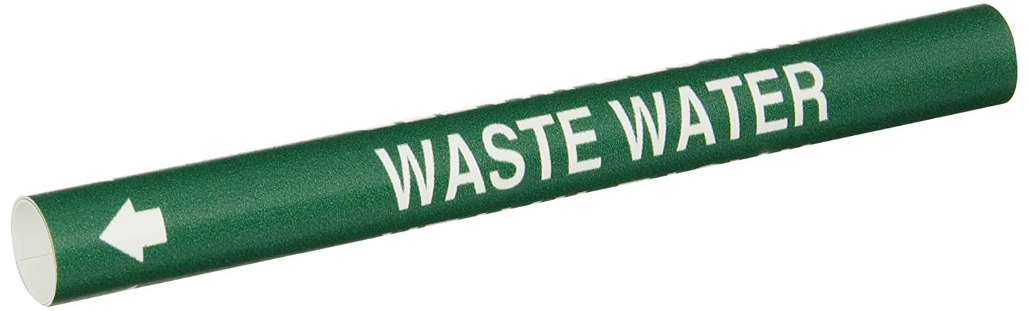 Legend Waste Water Legend Waste Water Brady 4153-A Bradysnap-On Pipe Marker White On Green Coiled Printed Plastic Sheet B-915