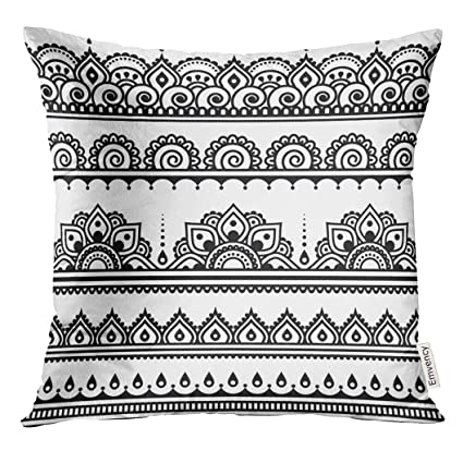 Amazon Golee Throw Pillow Cover Black Mehndi Indian Henna Awesome How To Stitch Pillow Cover In Hindi