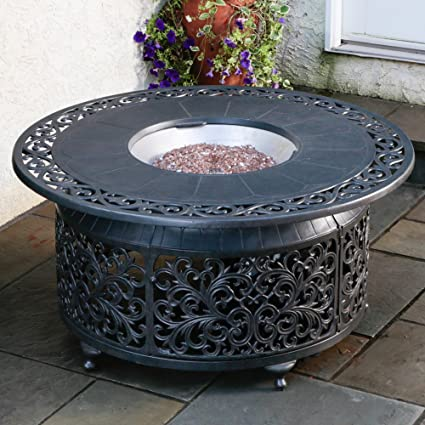 Amazoncom Alfresco Home Bellagio Cast Aluminum Gas Fire Pit - Cast aluminum gas fire pit table