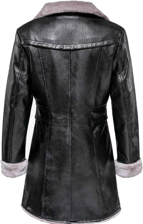 LinJiaJia_shop Veste d'hiver épaisse et chaude en simili cuir à col long Rouge Noir